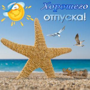 Картинка с морской звездой на песке