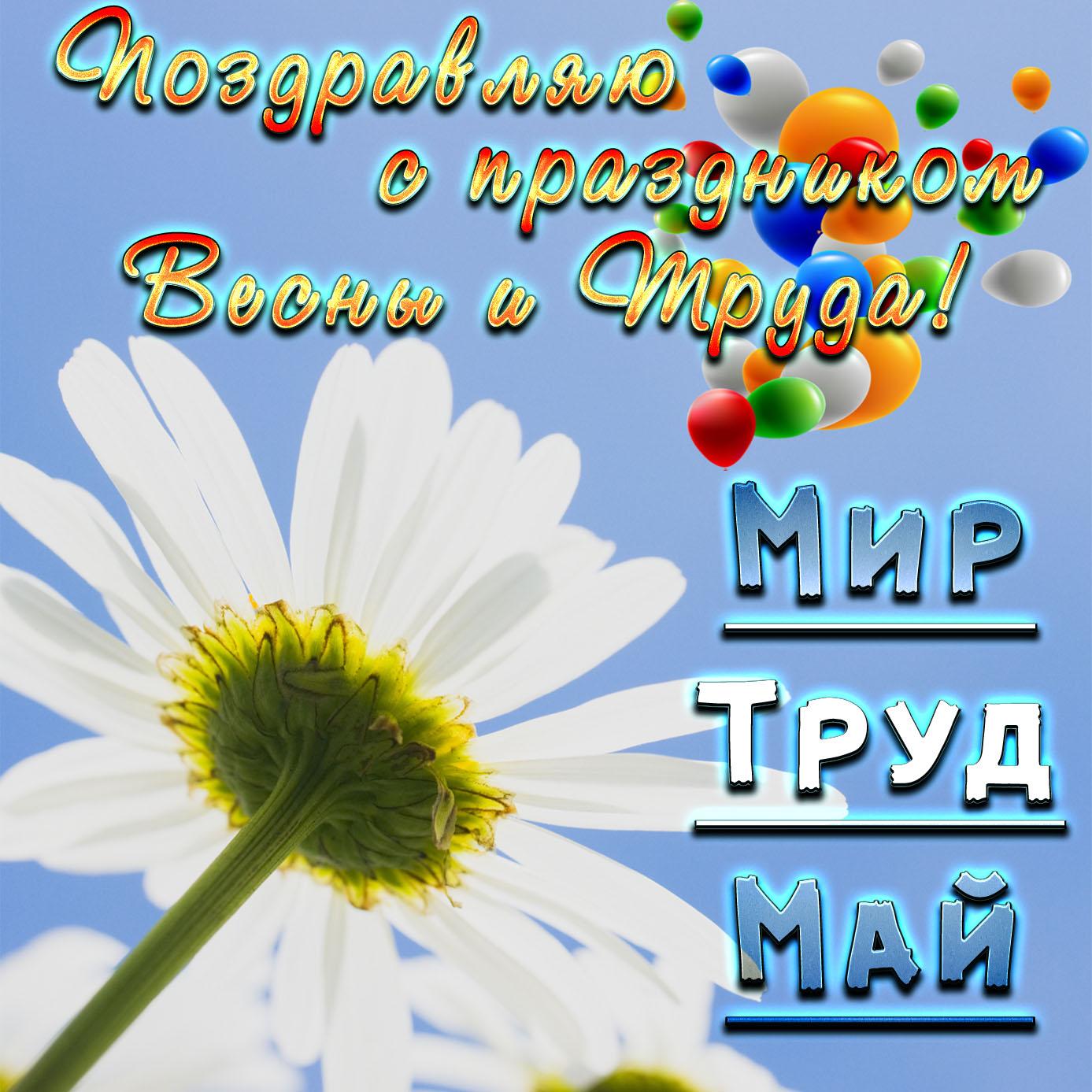 Открытка с поздравлением на День Весны и Труда