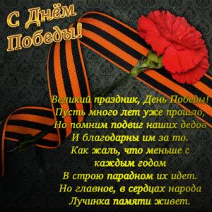 Картинка с пожеланием и гвоздикой на День Победы