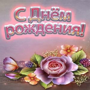 Открытка на День рождения с розой
