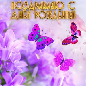 Яркая открытка на День рождения с бабочками