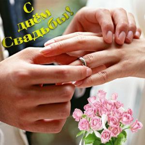 Руки с кольцами на красивой открытке на свадьбу