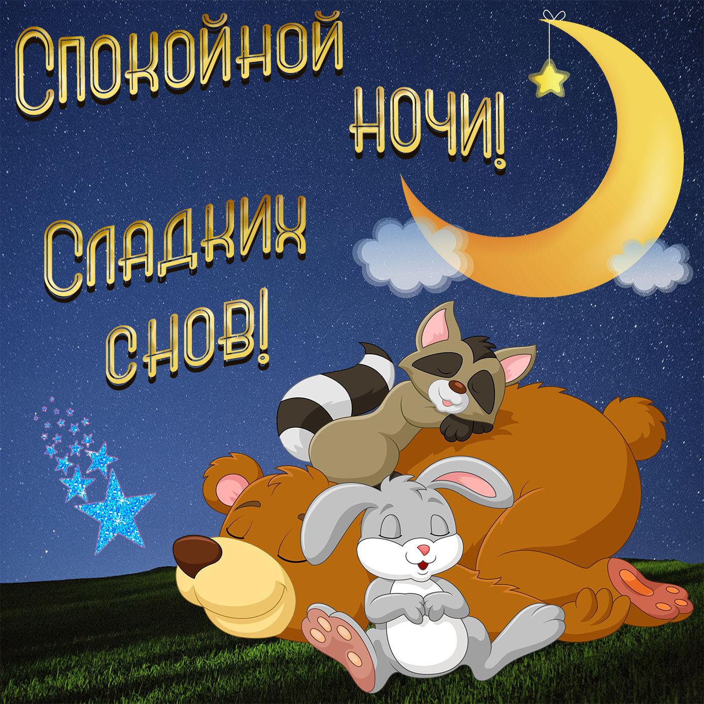 Картинка с животными, спящими под луной