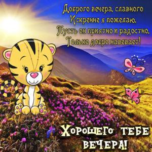 Картинка хорошего тебе вечера с тигрёнком