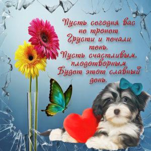Красивая открытка с собачкой и цветами