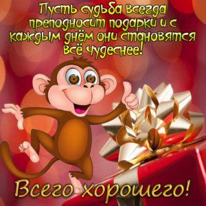Яркая картинка с обезьянкой и подарком