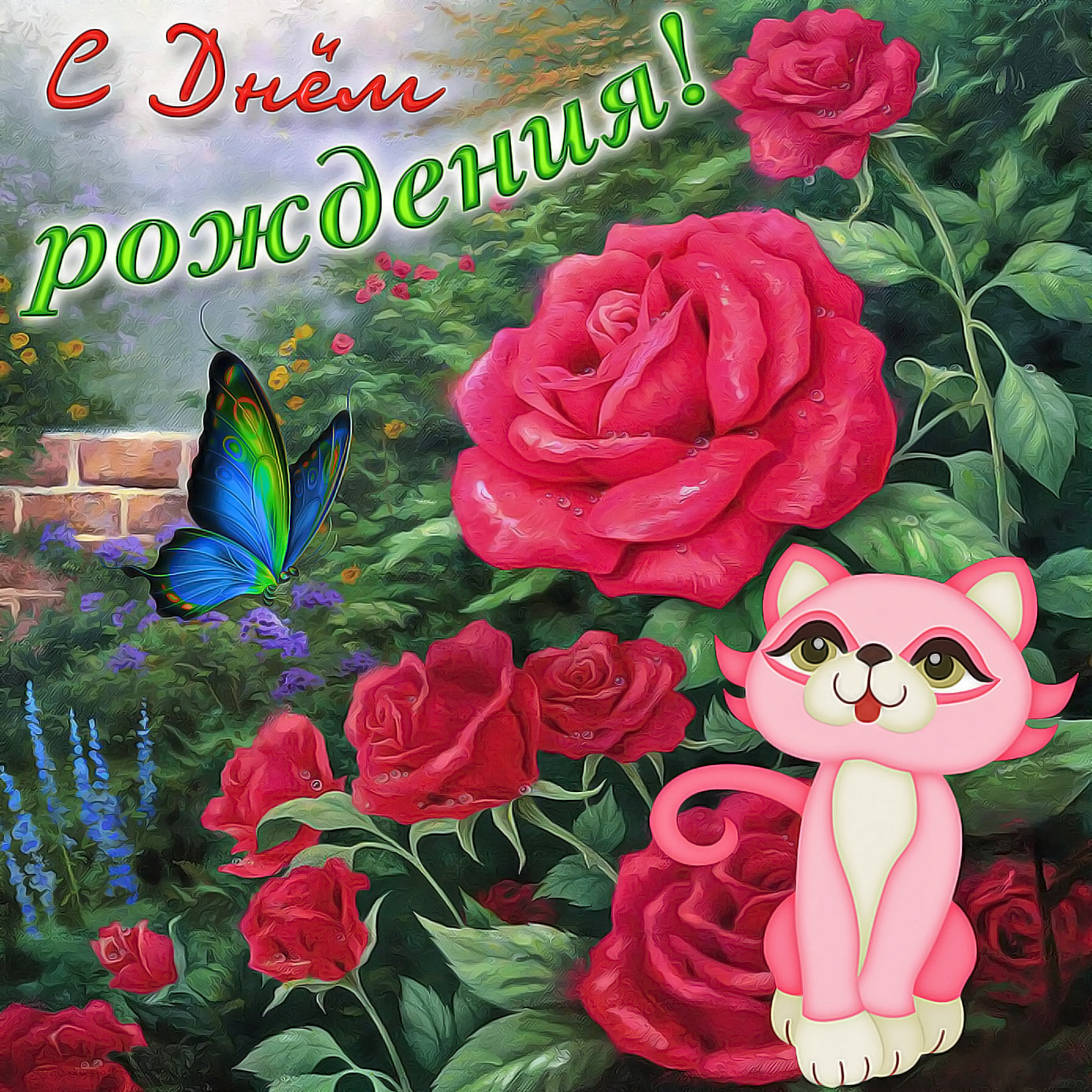 Картинка с кошечкой на фоне красных роз