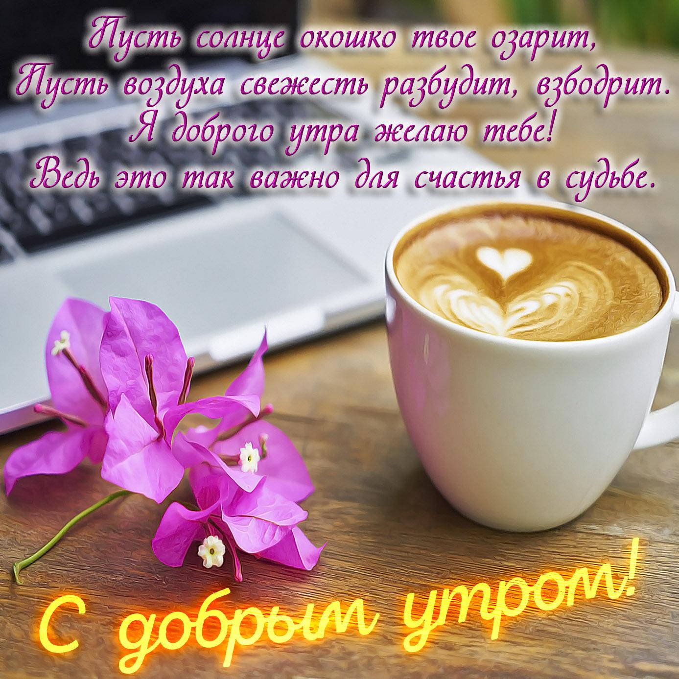 Картинка с цветочком и чашкой кофе