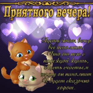 Открытка с милыми котятами и пожеланием