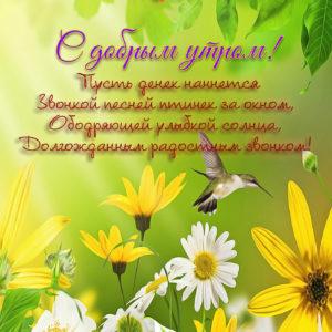 Картинка с добрым утром на фоне цветочков