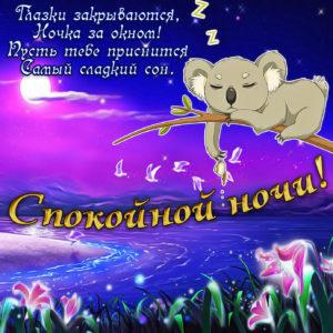 Красивая открытка спокойной ночи с пандой