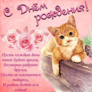 Открытка к Дню рождения с рыжим котиком