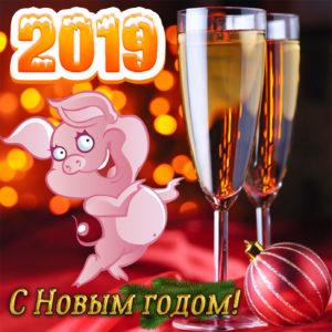 Яркая картинка на Новый год со свиньей