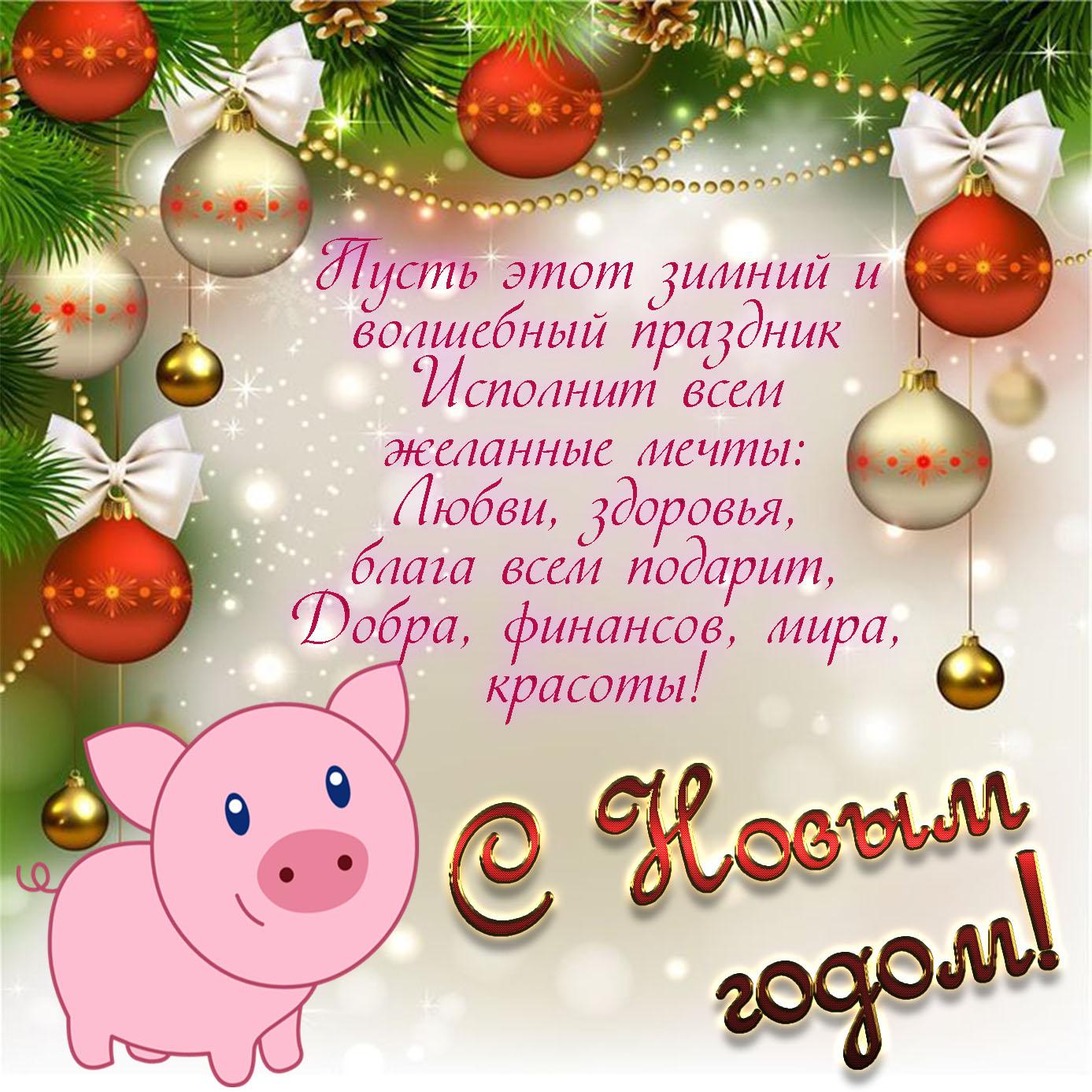 Картинка с пожеланием и свиньей к Новому году
