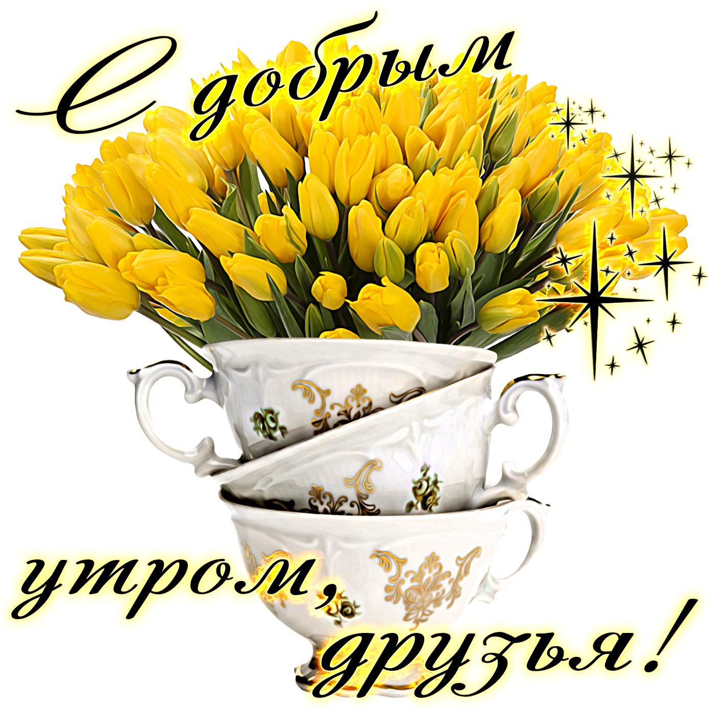 Картинка с букетом жёлтых тюльпанов для друзей