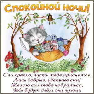 Открытка с котёнком желающим спокойной ночи