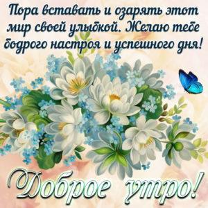Картинка доброе утро с пожеланием и цветочками